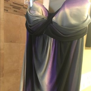 Mini dress- purple , gray and black. Strapless